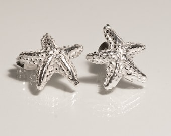 Sterling Silver Starfish Studs Earrings, Hand Crafted Silver Earrings, Beach Wedding Jewelry, Starfish Jewelry, Bridesmaid Starfish Earrings