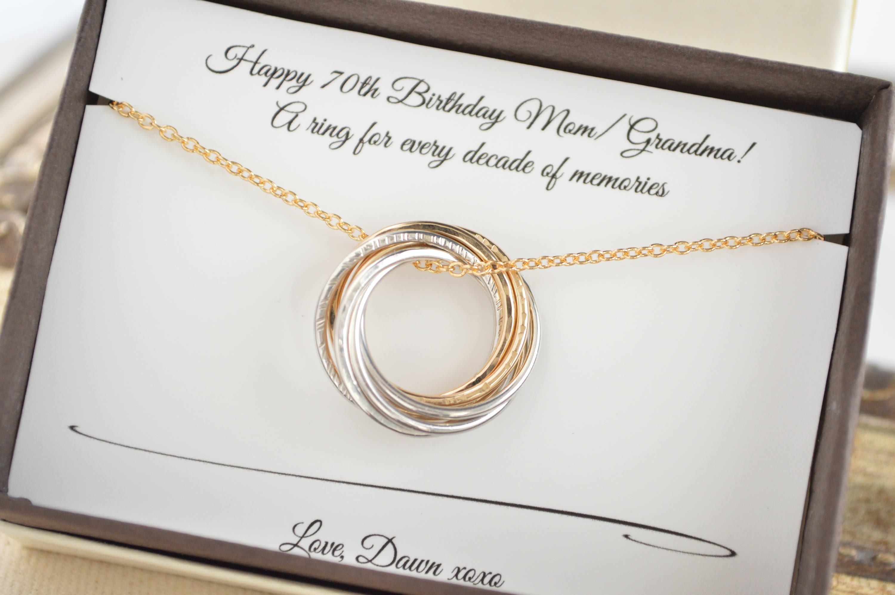 70th Birthday Gift For Mom And Grandma Necklace 7th Anniversary Wife Mixed Metals Women 7 Rings