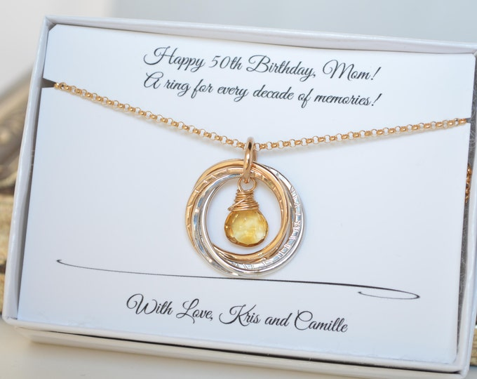 50 Birthday gift for mom, 5 Rings necklace, Gold and silver necklace, 5th Anniversary gift, November birthstone necklace, Citrine necklace