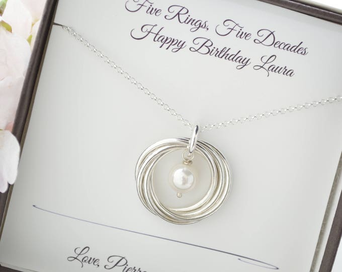 50th Birthday gift for mom necklace, 5 Best friends necklace, 5th Anniversary gift for wife, Pearl birthstone necklace, June birthstone gift
