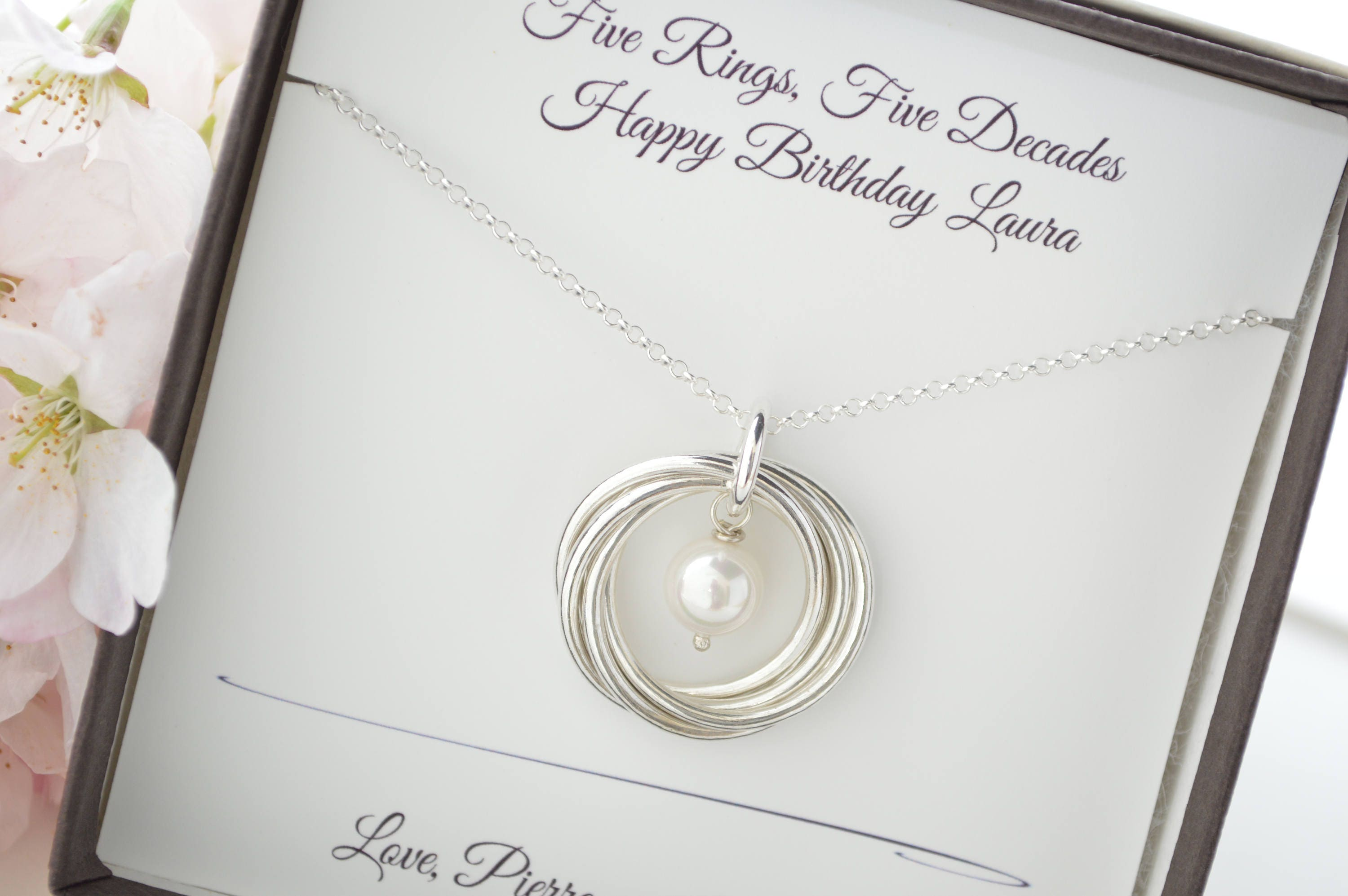 50th Birthday Gift For Mom Necklace 5 Best Friends 5th Anniversary Wife Pearl Birthstone June