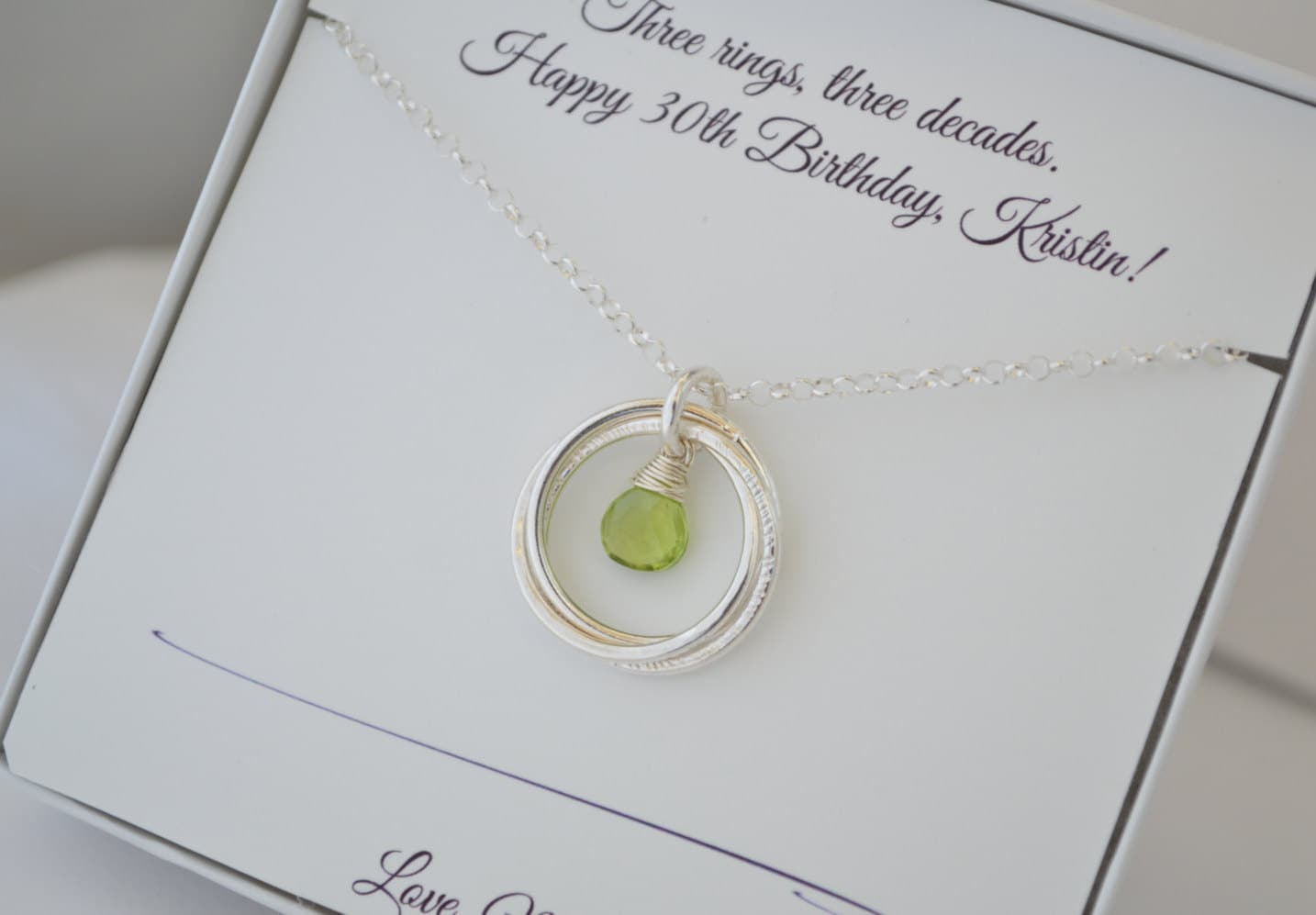 30th Birthday Gift For Her Peridot Birthstone Necklace August