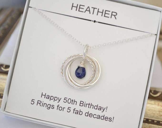 September birthstone jewelry, Blue sapphire necklace, 5 Interlocking rings necklace,Gift for wife,50th Birthday gift for mom,5 best friends