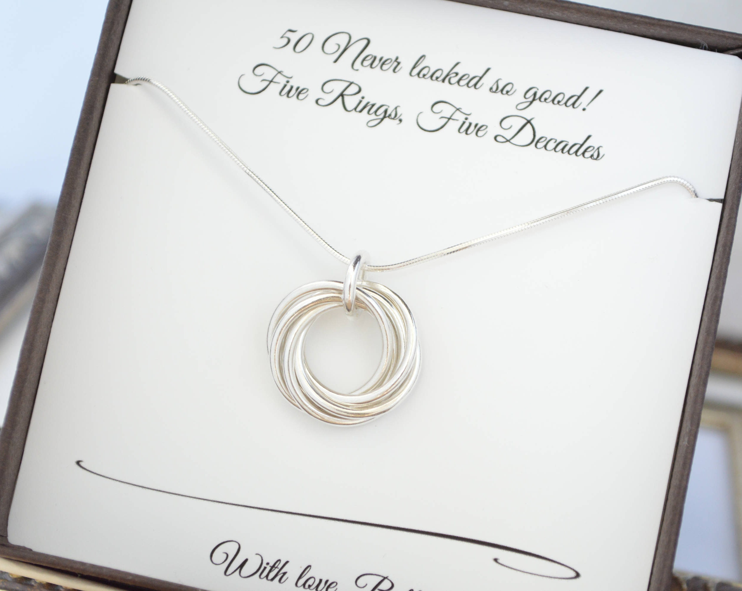 50th Birthday Necklace For Mom 5th Anniversary Gift Wife 5