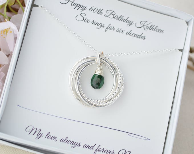 May birthstone necklace, 60th Birthday gift for mother necklace, Mother jewelry, Gift for mom, Mom Necklace, 6 Rings necklace,Sister jewelry