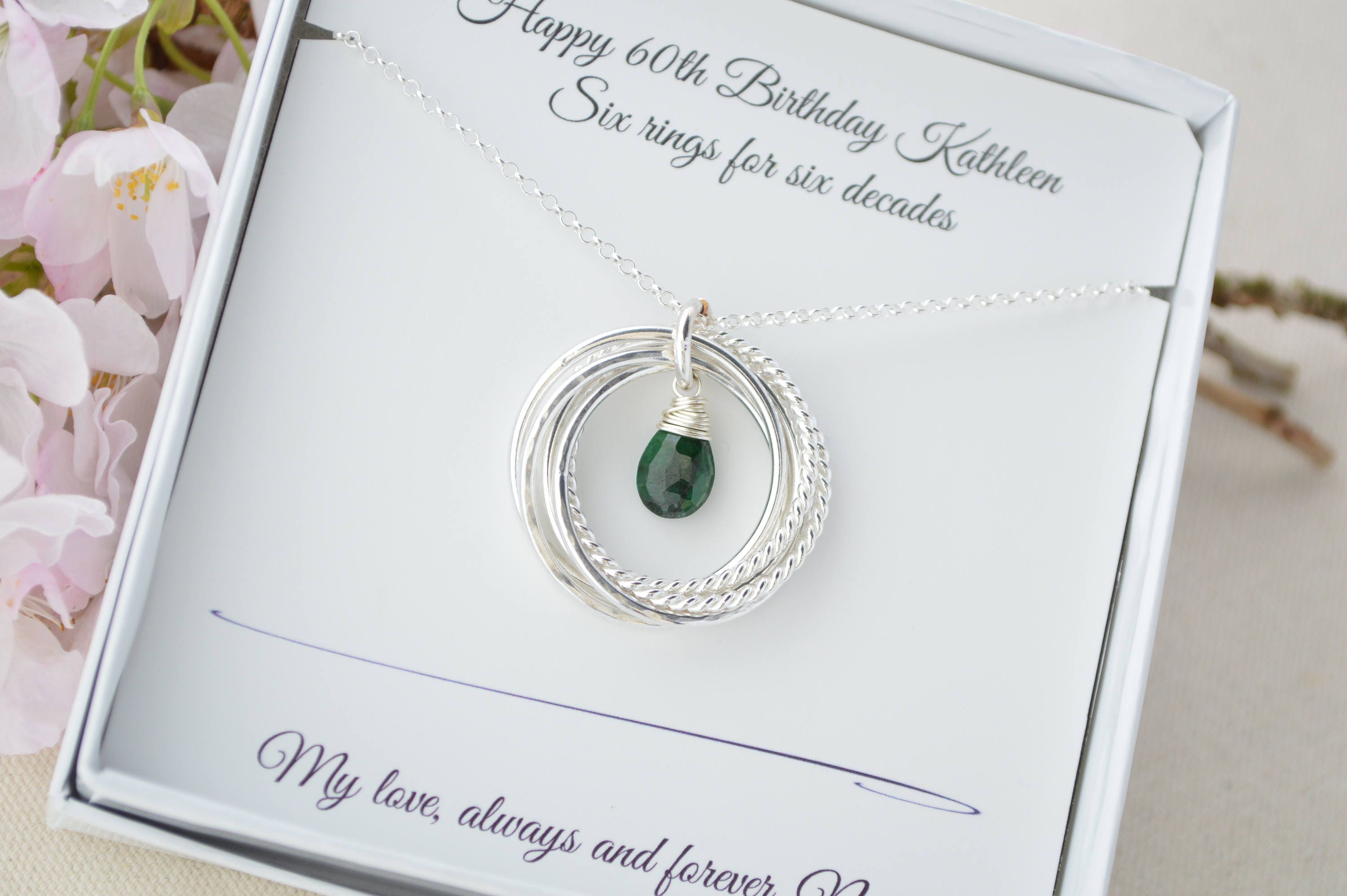 May Birthstone Necklace 60th Birthday Gift For Mother