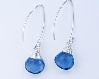Blue Sapphire Earrings, September Birthstone, Blue Sapphire Silver Earrings