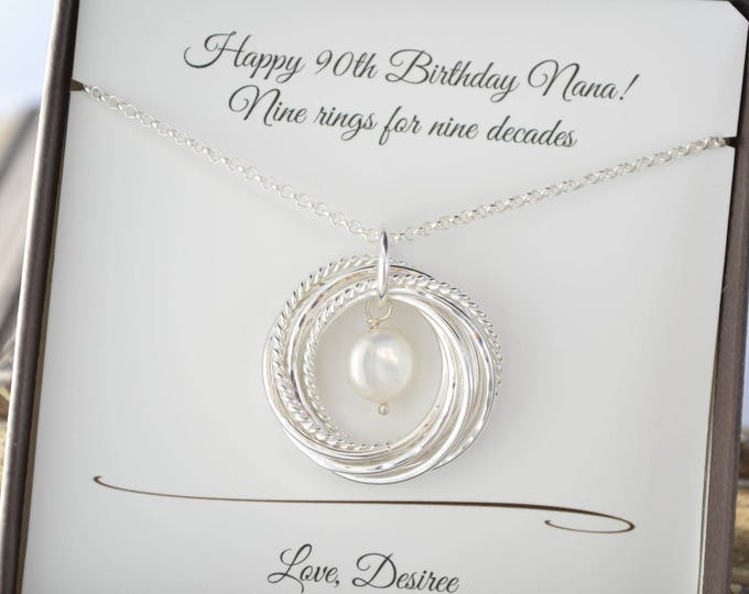 90th Birthday gift for mother, 9nd Anniversary gift for her, Pearl necklace, Mom necklace, June birthstone necklace, 90th birthday jewelry