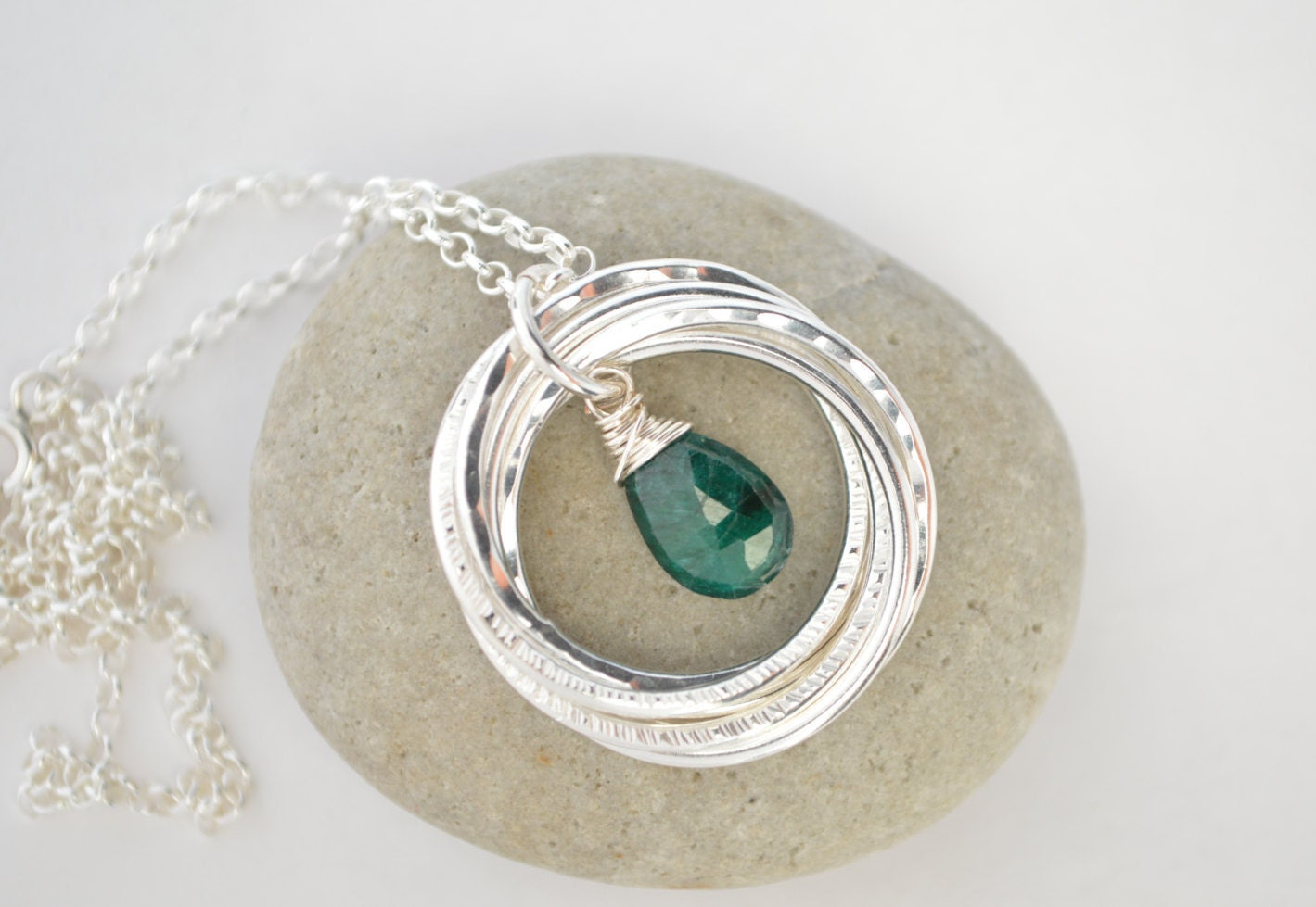 70th Birthday Gift For Mom And Grandma Emerald Birthstone Necklace May 7th Anniversary Wife Gifts