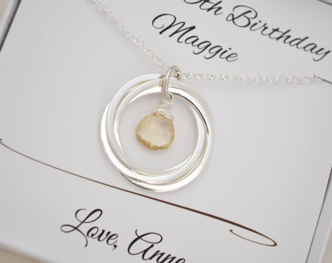 40th Birthday gift for women, 4rd Anniversary gift for her, November Birthstone Jewellery,Citrine Necklace,4  Sister Necklace,Sister jewelry