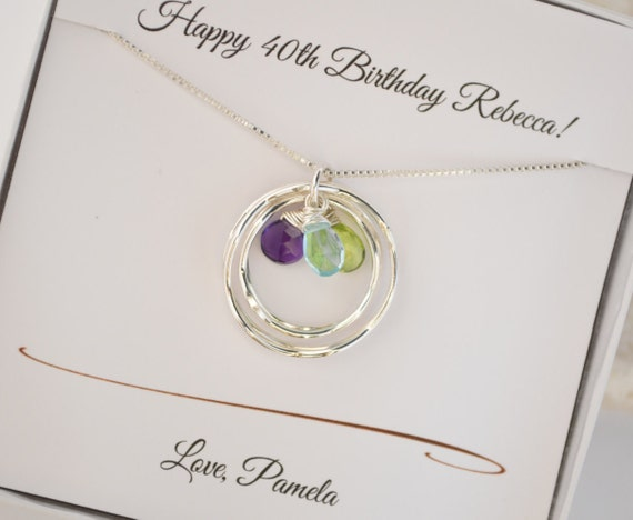 Mothers Birthstone Necklace Gift For Mom 40th Birthday