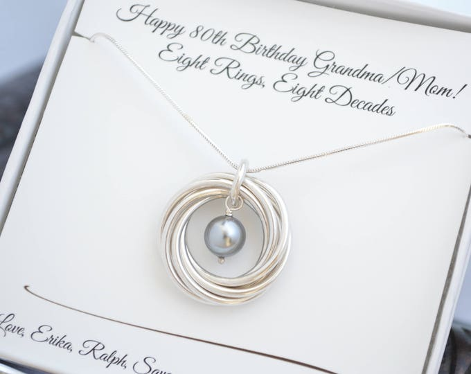 80th Birthday gift for mom , 8th Anniversary gift for women, Grey pearl necklace, 8 Rings for 8 decades necklace, 80th Birthday jewelry