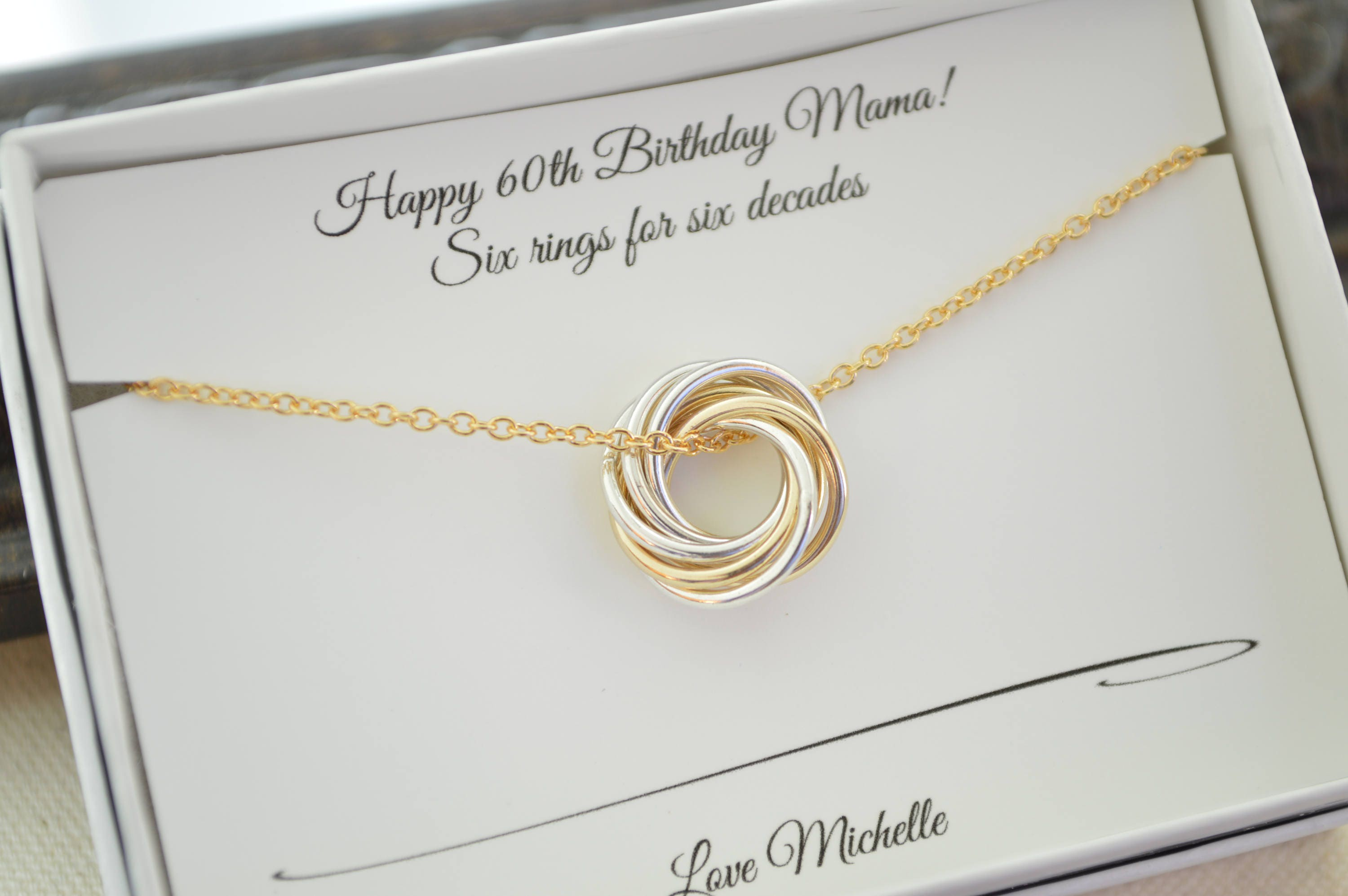 Petite Necklace Mixed Metals 60th Birthday Gift For Mom