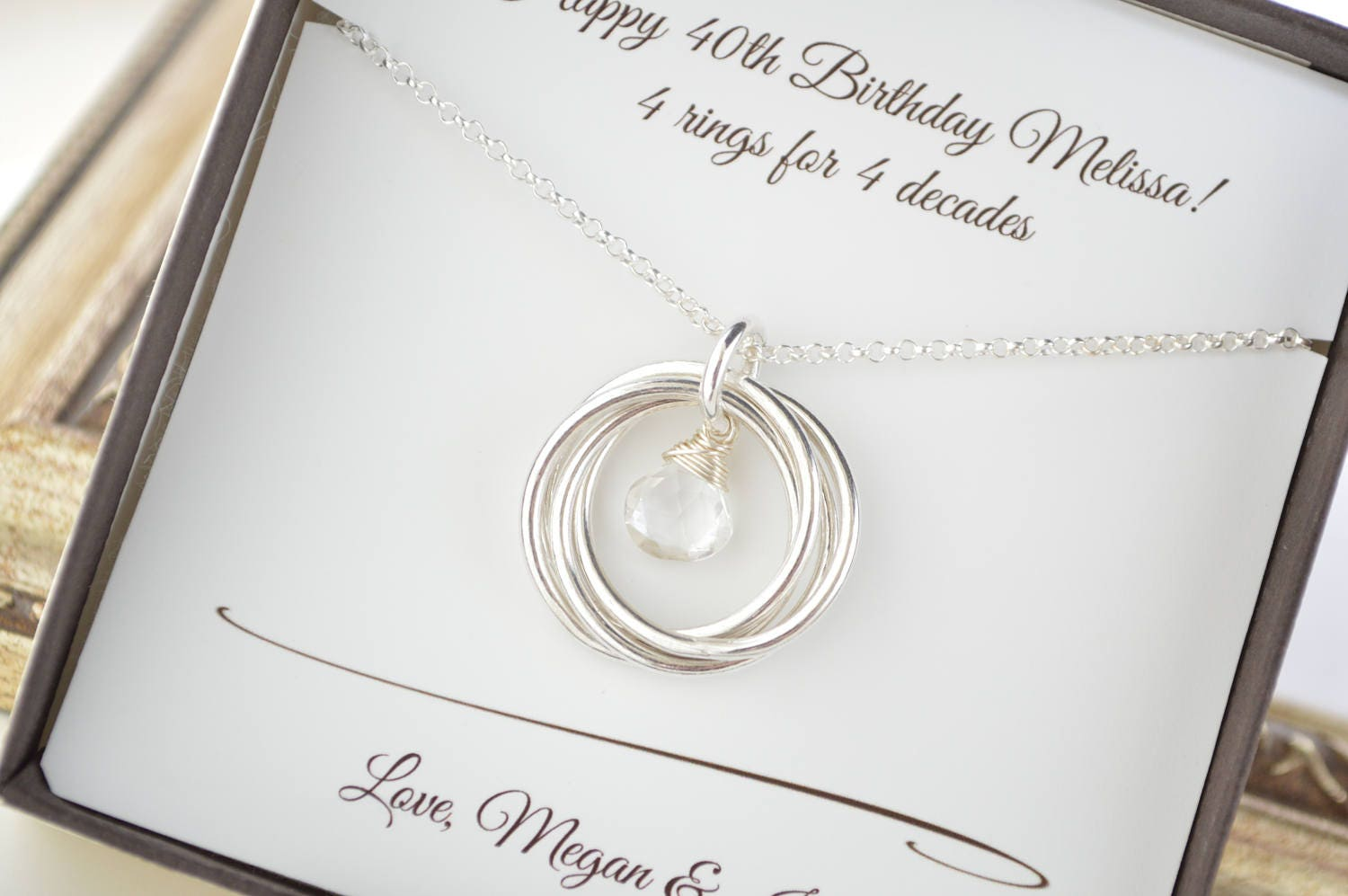 April Birthstone Necklace 40th Birthday Gift For Her 4th Anniversary