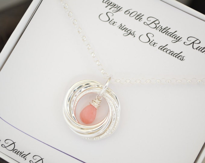 Pink opal necklace, October birthstone necklace, 60th Birthday gift for mom, 6th Anniversary gift, 60th Birthday jewelry for mother, 6 Rings