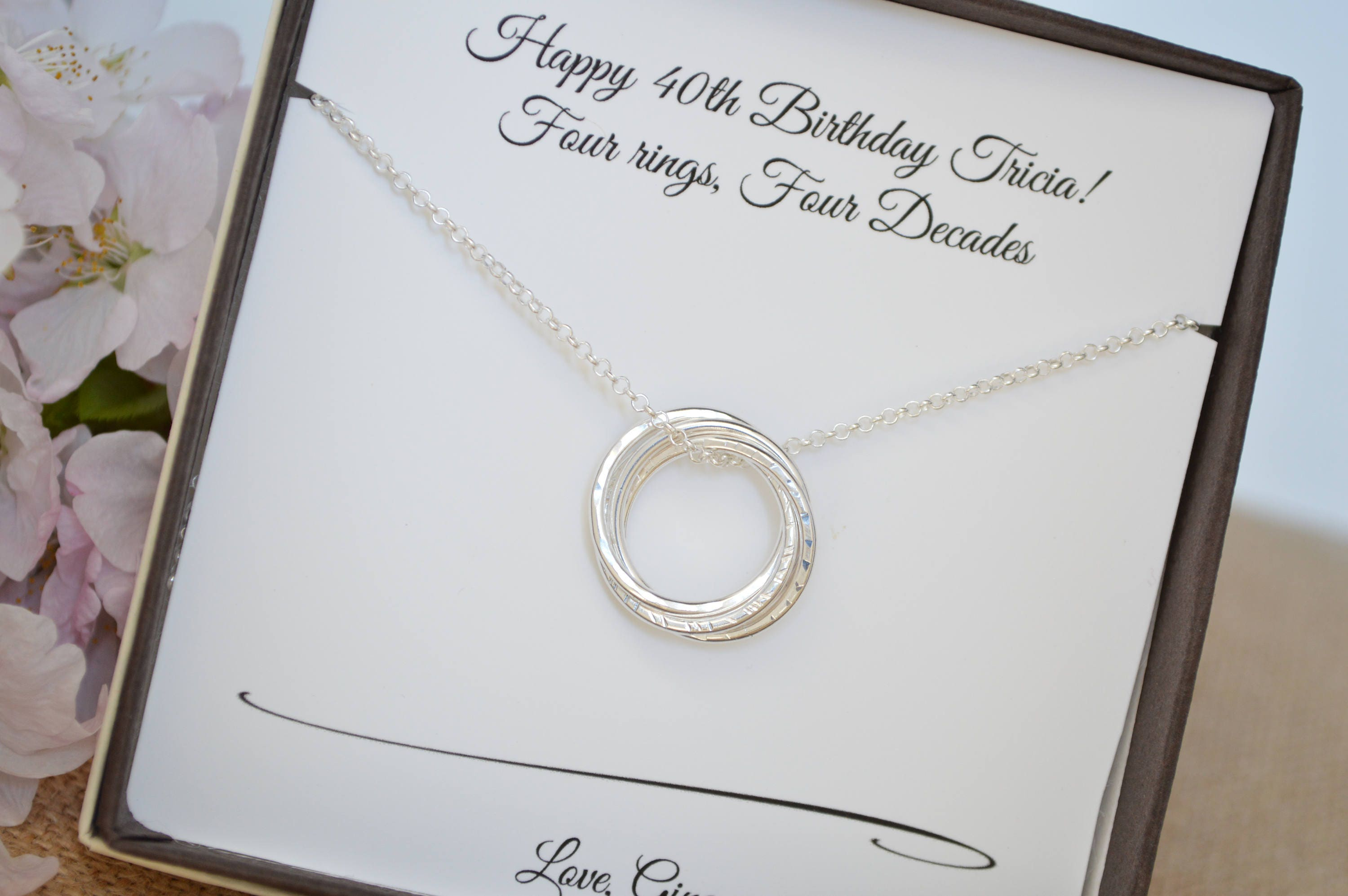 40th Birthday Gift Forwomen 4 Sisters Necklace Best Friend Rings Gifts For Her 4rd Anniversary