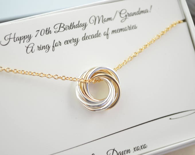 Petite necklace, 70th Birthday gif for mom, Mixed metals, 7th Anniversary gift, 70th Birthday jewelry for women, 7 Rings for 7 decades