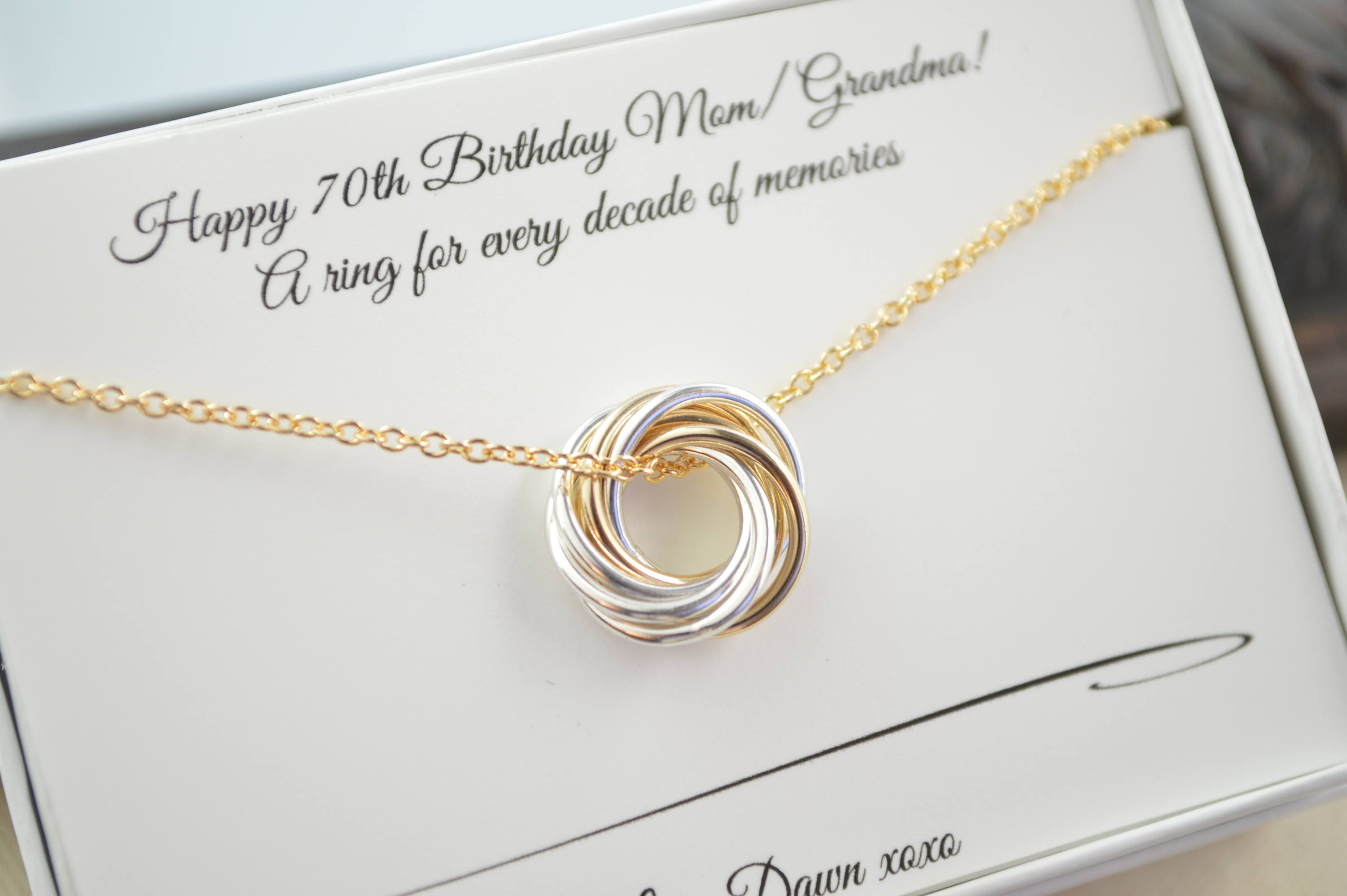 Petite Necklace 70th Birthday Gif For Grandma And Mom Mixed Metals