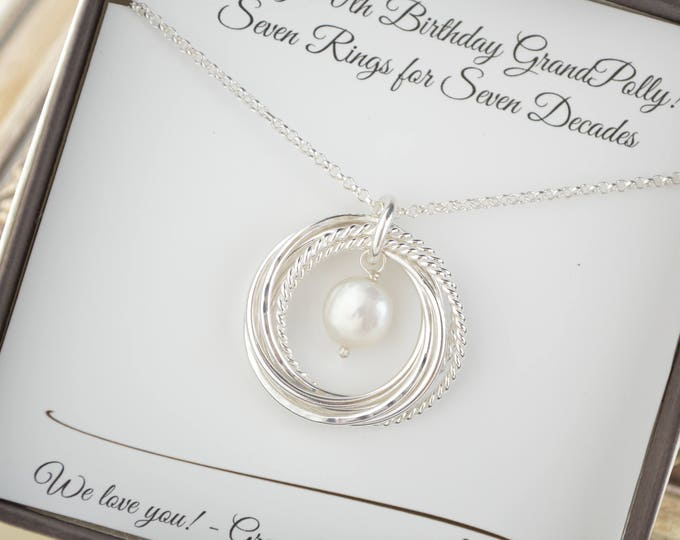 70th Birthday gift for mom, 70th Birthday jewelry, 7th Anniversary gift for her, 70th Birthday for women, 7 Rings for 7 decades necklace
