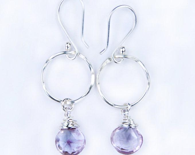 Amethyst Silver Earrings, February Birthstone Earrings, Amethyst Gemstone Earrings, Pink Stone Earrings, Bridesmaid, Mom, Fiancée, Grad Gift
