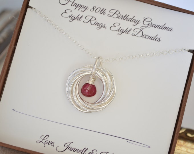 80th Birthday gift for grandma, 8th Anniversary gift, 80th Birthday jewelry for mom,  July birthstone jewelry, 8 Rings for 8 decades