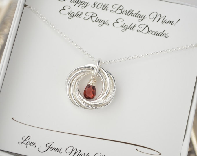 80th Birthday gift for mom,  Garnet birthstone necklace, 80th Gifts for women, 8th Anniversary gift, 8 Rings for 8 decades necklace
