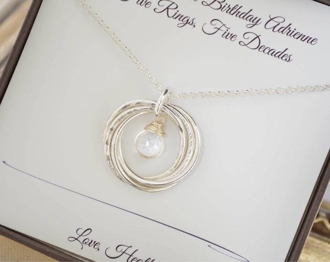 April birthstone necklace, 5 Rings interlocking necklace, Gift for sister necklace, 50th Birthday gift for mom necklace,5th Anniversary gift