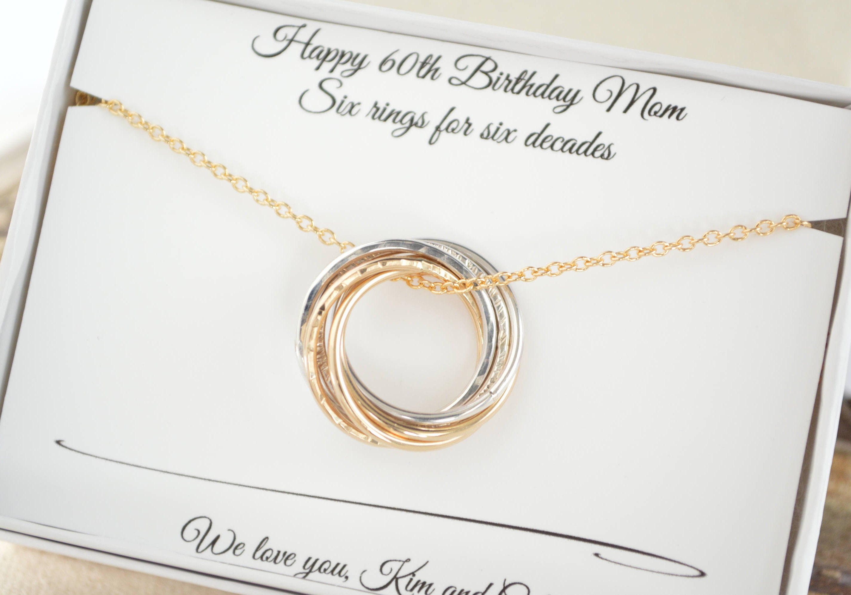 60th Birthday Gift For Mom 6th Anniversary Gif Her 6 Rings Necklace Women Gifts Mother