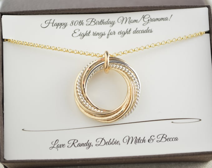 80th Birthday gift for mom, 8th Anniversary gift for women, 80th Birthday jewelry, 8 Rings for 8 decades necklace, 80th Birthday for women