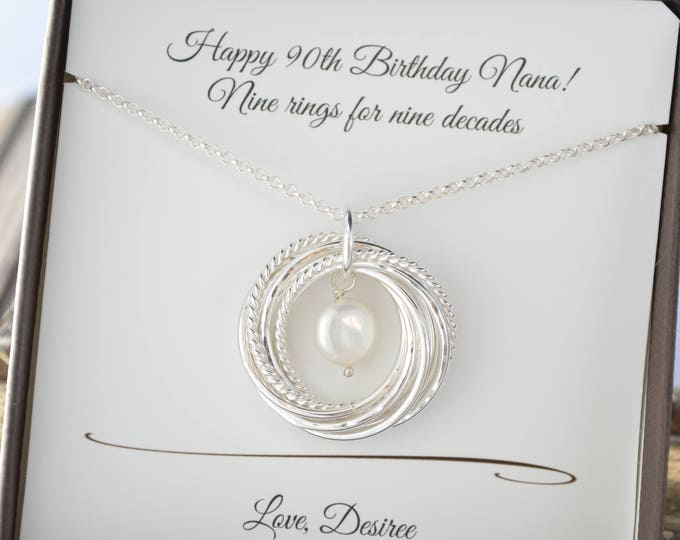 90th Birthday gift for mother Grandmother necklace 9th Anniversary gift Gift for grandma Gift for mom June birthstone necklace 90th birthday