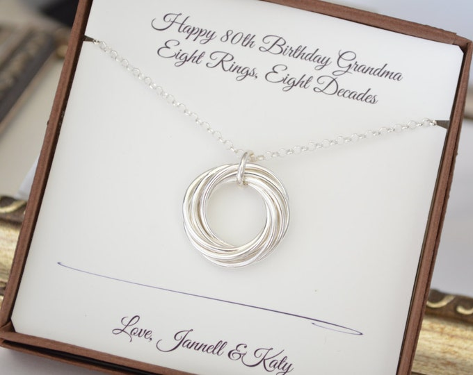80th Birthday jewelry, 80th Birthday gift for women, 8 Rings for 8 decades necklace, 8th Anniversary gift, 80th Birthday gift for grandma