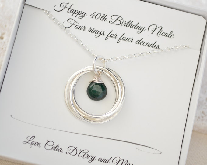 40th Birthday gift for women, May birthstone jewelry, May birthstone jewelry, Emerald necklace, Mother necklace,4th Anniversary gift for her