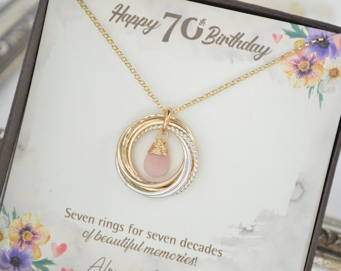 70 Birthday jewelry for mom, Birthstone jewelry, Mixed metal necklace, 70 Decades necklace, 7 Rings  for 7 decades gift, 70th Birthday gift