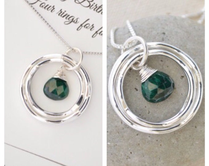 40th Birthday gift for wife, 40th Birthday gift for her, Emerald birthstone necklace, May birthstone necklace, Gift for sister, 4 Friends