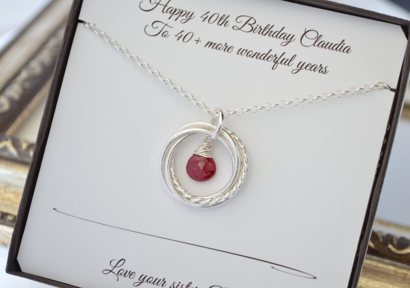 40th Birthday Gift For Her July Birthstone Necklace 4 Interlocking Rings