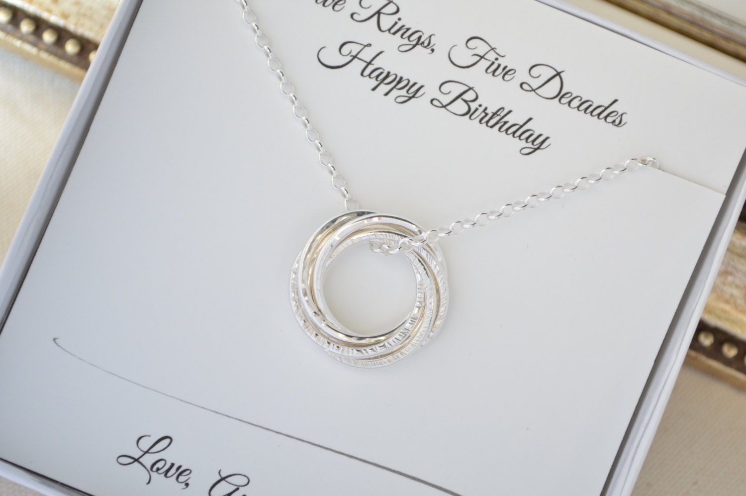 50th Birthday Necklace For Wife Gift Women 5th