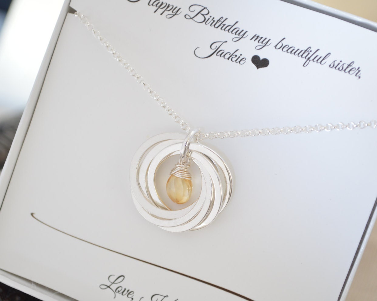 60th Birthday Gift For Mom Sister Necklace Women November Birthstone 6th Anniversary Citrine
