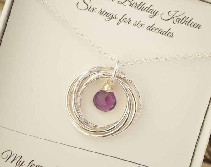 60th Birthday gift for mom, Amethyst birthstone jewellery, 6th Anniversary gift for her, Mother jewelry, 60th Birthday for women,Sister gift
