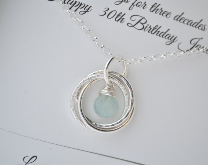 30th Birthday gift for daughter, Aquamarine birthstone necklace, 3 Sister necklace, 3rd Anniversary gift for her, 3 Rings for 3 Decades