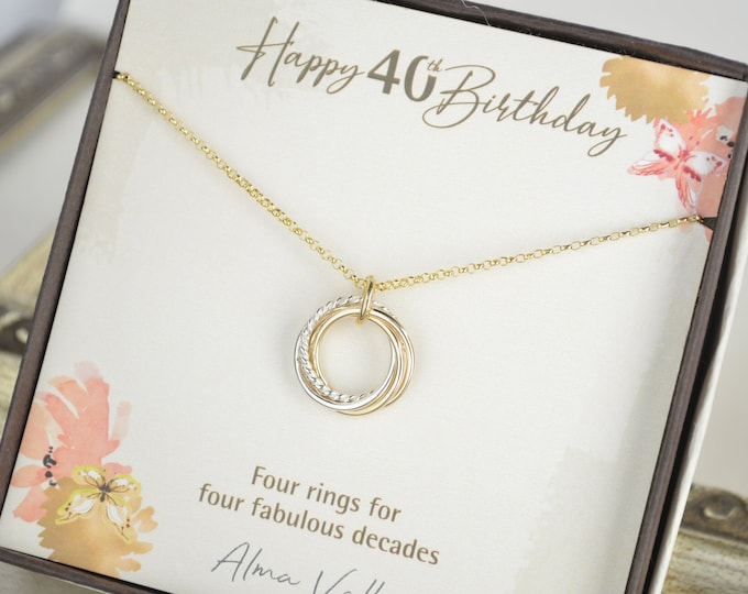40th Birthday gift for women, 40th Birthday jewelry for her, 4 Decades necklace  for friend, Petite gold necklace, Delicate necklace