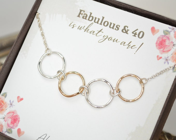 40th Birthday gift for women, 40th Birthday gift for daughter, 4 Rings necklace, Mixed metals necklace, 40th birthday jewelry, 4 Sisters
