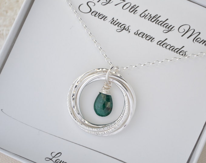 70th Birthday gift for mom and grandma, Emerald birthstone necklace, May birthstone necklace, 7th Anniversary gift for wife, Birthday gifts
