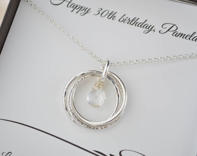 30th Birthday gift for her, 3 Sisters necklaces, 3 Best friend necklaces, 3rd Anniversary gift for women, April birthstone jewelry,