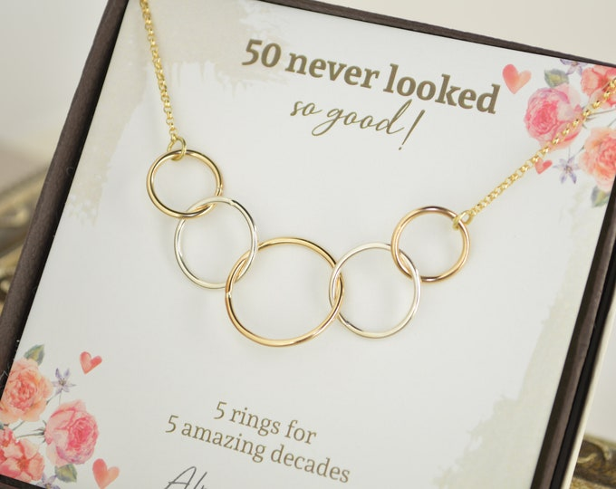 50th Birthday gifts for women, Mixed metal rings, 50 Years old, 5 Circle necklace, 50th Birthday jewelry, 5 Decade jewelry, 5 Rings