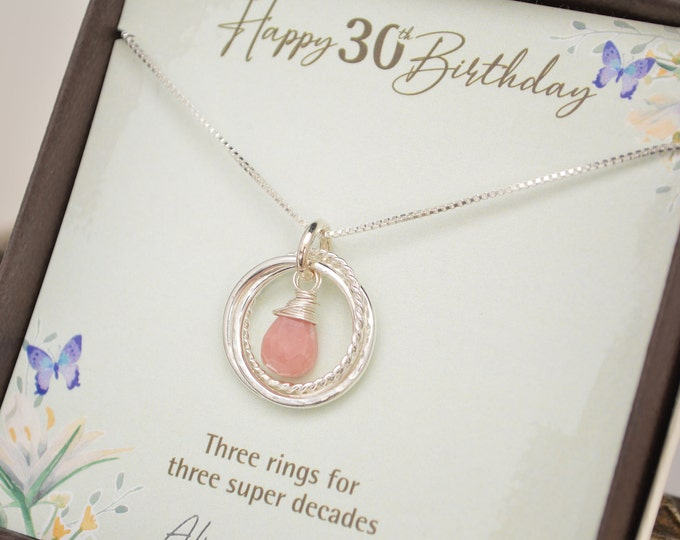 30th Birthday jewelry for daughter, 30th Birthday for her, 3 Decades necklace, Pink opal necklace, October birthstone, Milestone gift