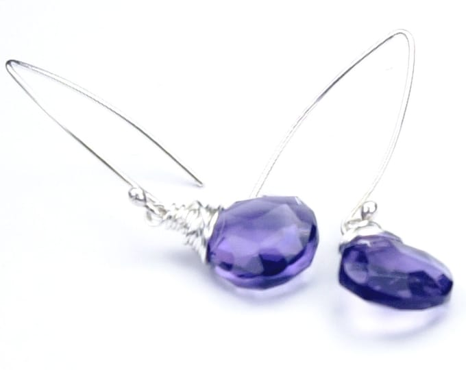 Amethyst Earrings, February Birthstone Earrings, Purple Gemstone Earrings, Purple Earrings, Silver Hook, Bridesmaid, Mom, Fiancée, Grad Gift