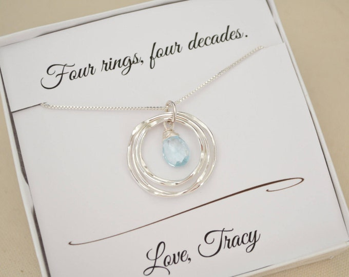 40th Birthday Gift for Her, December Birthstone, Blue Topaz jewelry, 40th Birthday Gift for daughter, 40th Birthday necklace,4th Anniversary