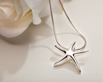 Small Starfish Necklace, Starfish Jewelry, Beach Wedding Jewelry, Bridesmaid Starfish Necklace, Summer Silver Necklace