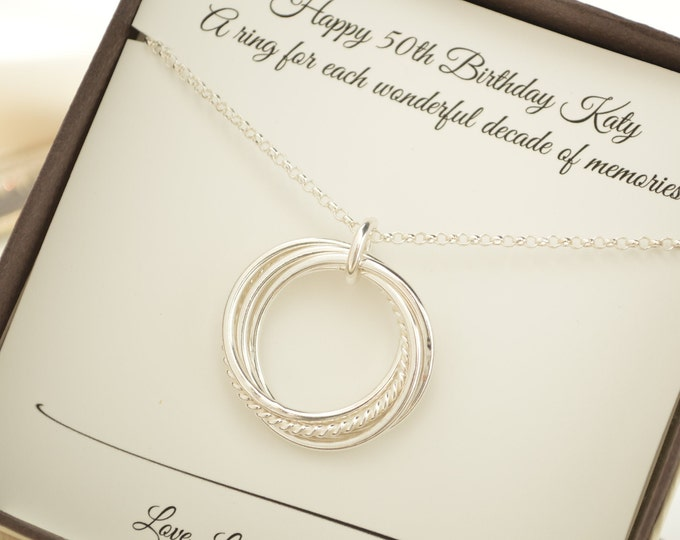 50th Birthday gift for women, 5 rings necklace, 50th Birthday jewelry for her, 5th Anniversary gift for wife, 5 Decade jewelry 50 Gifts for
