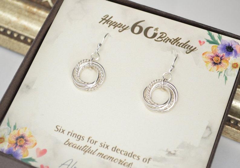 60th Birthday gift for women 6 Interlocking rings 6th image 0